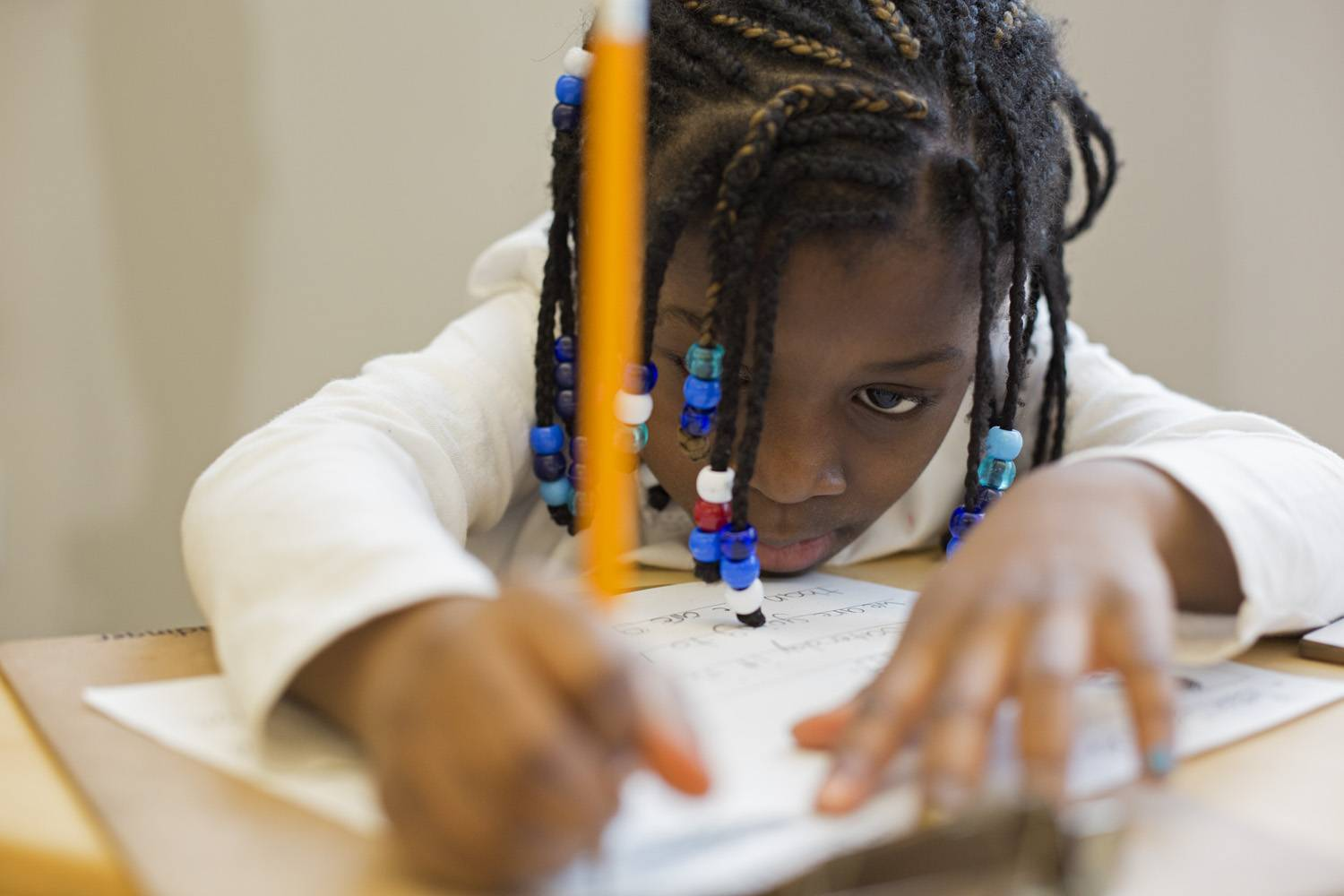 Detroit, Michigan - First grade at Mark Murray Elementary School, a unit of the University Prep Academy. University Prep is a tuition-free charter school that aims to prepare urban children for college.