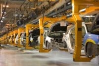 Sterling Heights, Michigan - The assembly line for the 2007 Chrysler Sebring sedan at DaimlerChrysler's Sterling Heights Assembly Plant.